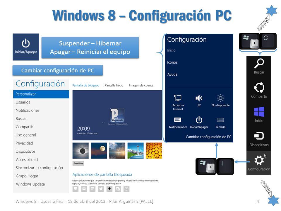 Windows 8 – Configuración PC Windows 8 - Usuario final - 18 de abril del 2013 - Pilar Arguiñáriz [PALEL]4 Suspender – Hibernar Apagar – Reiniciar el e