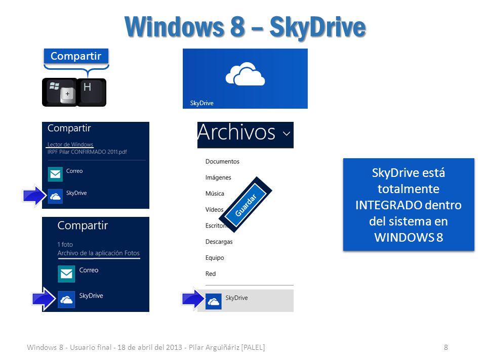 Windows 8 – SkyDrive Windows 8 - Usuario final - 18 de abril del 2013 - Pilar Arguiñáriz [PALEL]8 Compartir SkyDrive está totalmente INTEGRADO dentro
