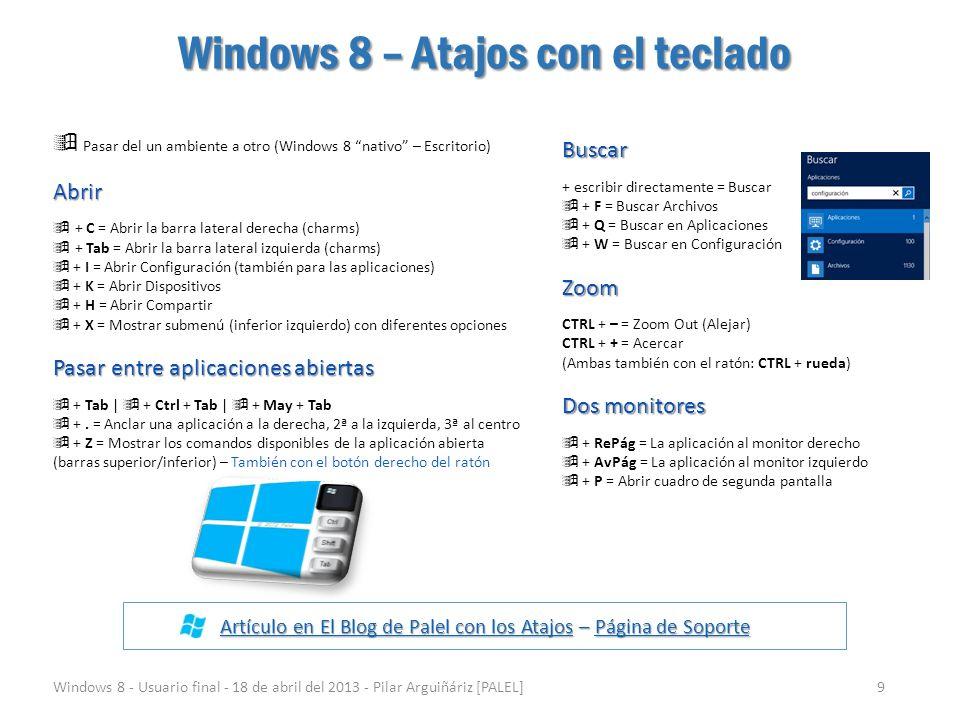 Windows 8 – Atajos con el teclado Windows 8 - Usuario final - 18 de abril del 2013 - Pilar Arguiñáriz [PALEL]9 Artículo en El Blog de Palel con los At