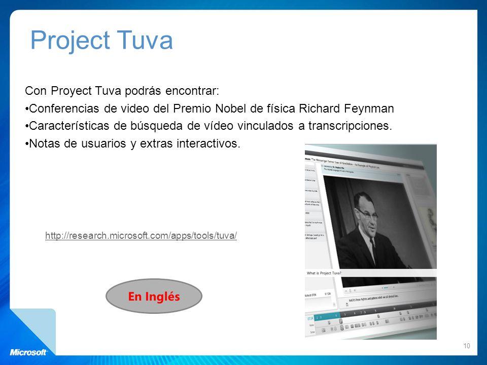 Con Proyect Tuva podrás encontrar: Conferencias de video del Premio Nobel de física Richard Feynman Características de búsqueda de vídeo vinculados a