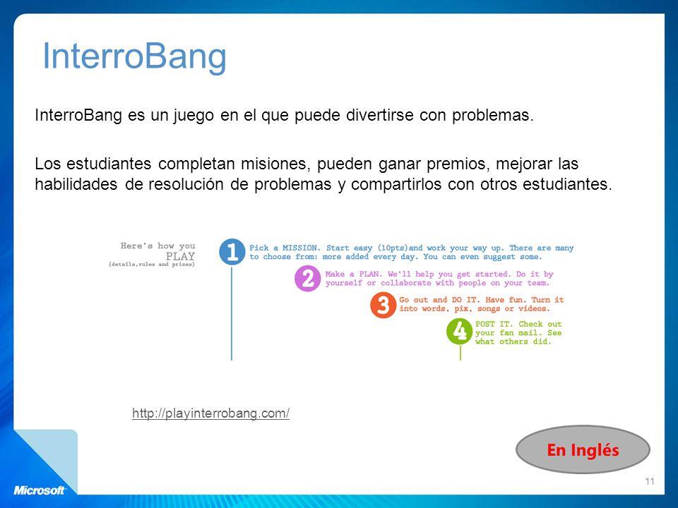 InterroBang es un juego en el que puede divertirse con problemas. Los estudiantes completan misiones, pueden ganar premios, mejorar las habilidades de