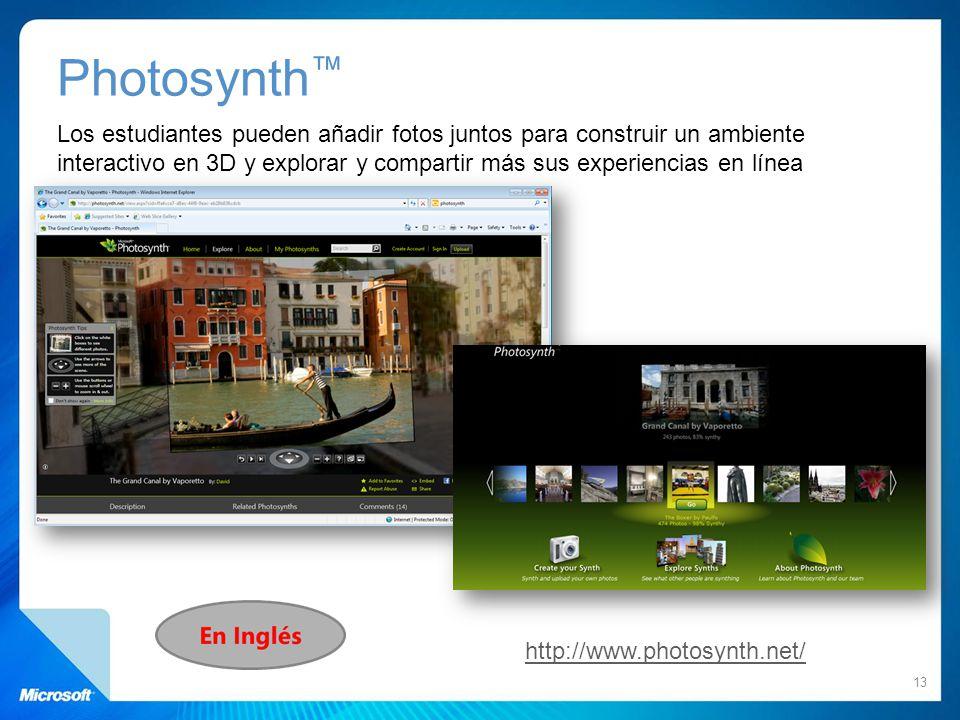 Photosynth Los estudiantes pueden añadir fotos juntos para construir un ambiente interactivo en 3D y explorar y compartir más sus experiencias en líne