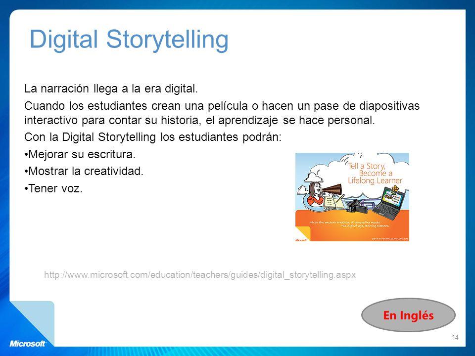 La narración llega a la era digital. Cuando los estudiantes crean una película o hacen un pase de diapositivas interactivo para contar su historia, el