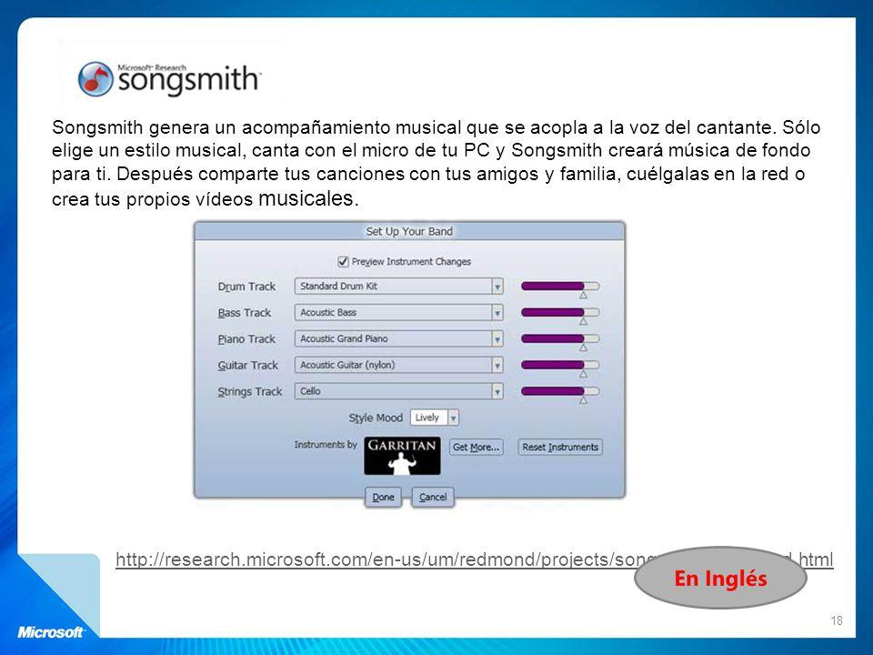 Songsmith genera un acompañamiento musical que se acopla a la voz del cantante. Sólo elige un estilo musical, canta con el micro de tu PC y Songsmith