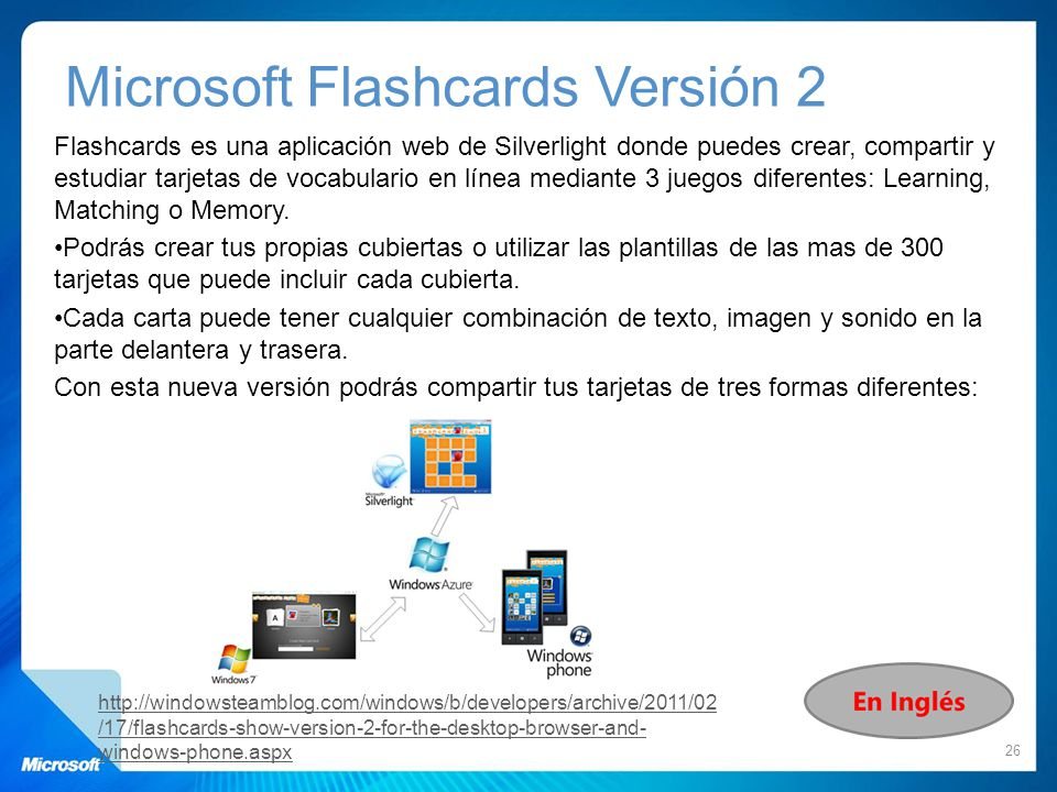 Flashcards es una aplicación web de Silverlight donde puedes crear, compartir y estudiar tarjetas de vocabulario en línea mediante 3 juegos diferentes