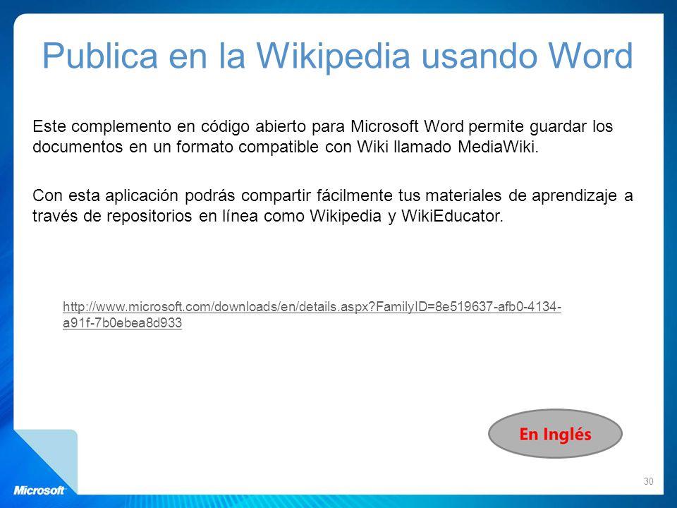 Este complemento en código abierto para Microsoft Word permite guardar los documentos en un formato compatible con Wiki llamado MediaWiki. Con esta ap