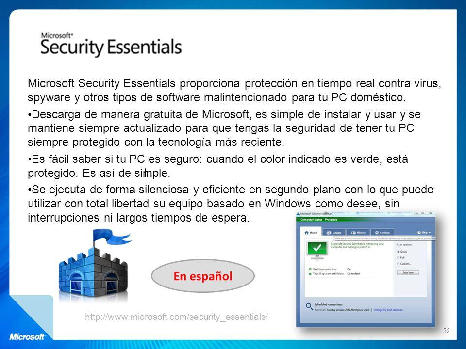 Microsoft Security Essentials proporciona protección en tiempo real contra virus, spyware y otros tipos de software malintencionado para tu PC domésti