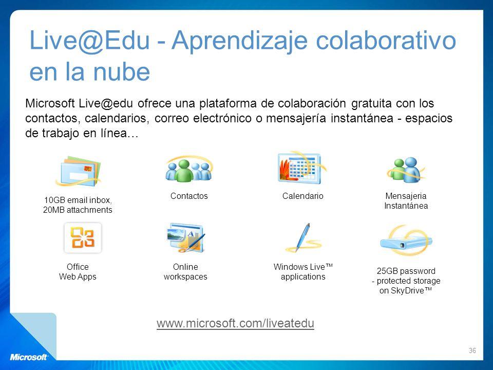 Live@Edu - Aprendizaje colaborativo en la nube Microsoft Live@edu ofrece una plataforma de colaboración gratuita con los contactos, calendarios, corre