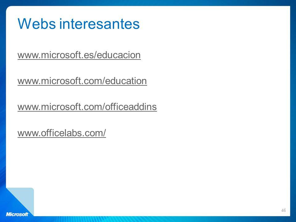 Webs interesantes www.microsoft.es/educacion www.microsoft.com/education www.microsoft.com/officeaddins www.officelabs.com/ 46