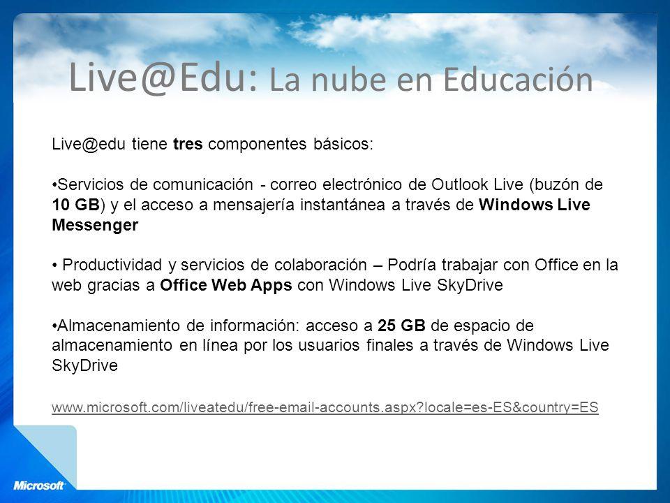 Live@Edu: La nube en Educación Live@edu tiene tres componentes básicos: Servicios de comunicación - correo electrónico de Outlook Live (buzón de 10 GB