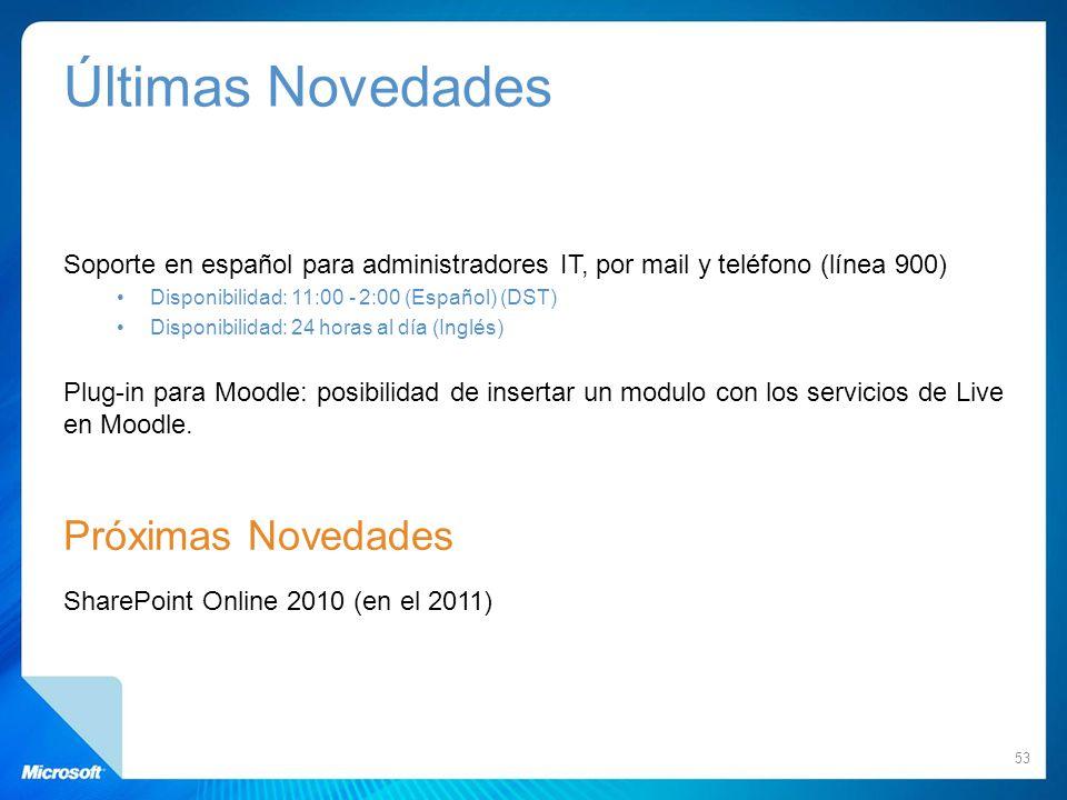 Últimas Novedades Soporte en español para administradores IT, por mail y teléfono (línea 900) Disponibilidad: 11:00 - 2:00 (Español) (DST) Disponibili