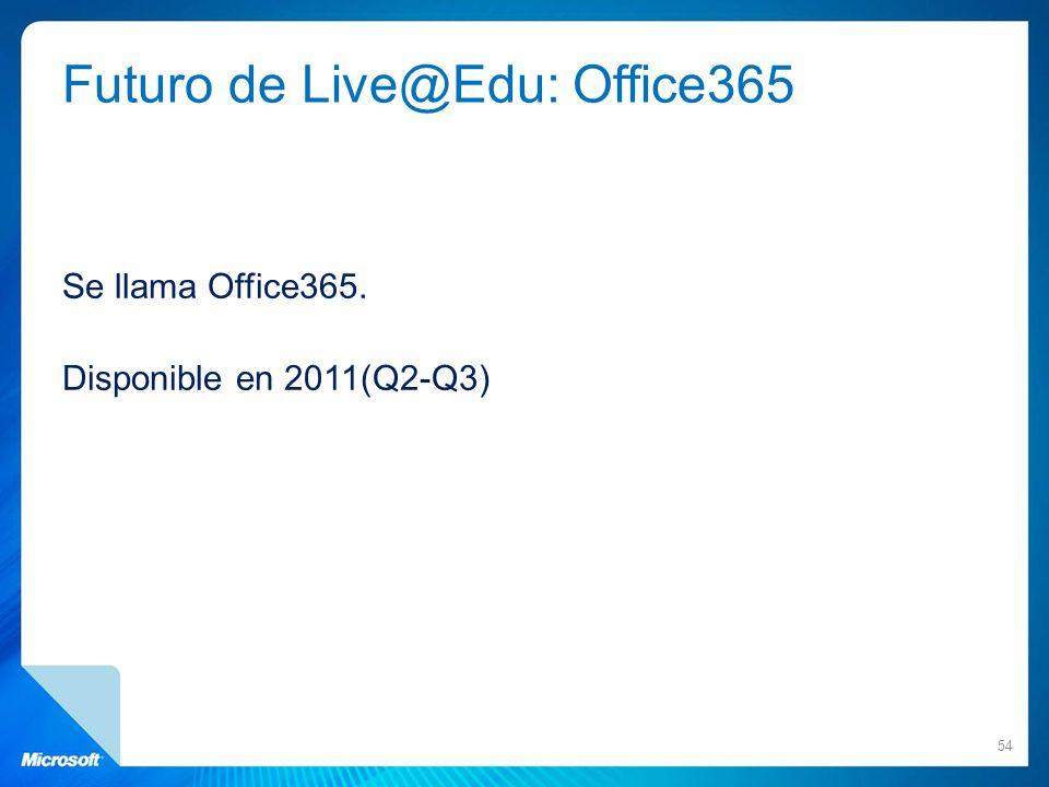 Futuro de Live@Edu: Office365 Se llama Office365. Disponible en 2011(Q2-Q3) 54