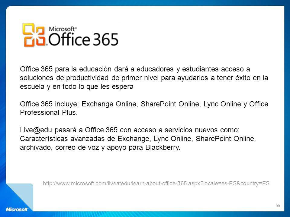 55 http://www.microsoft.com/liveatedu/learn-about-office-365.aspx?locale=es-ES&country=ES Office 365 para la educación dará a educadores y estudiantes
