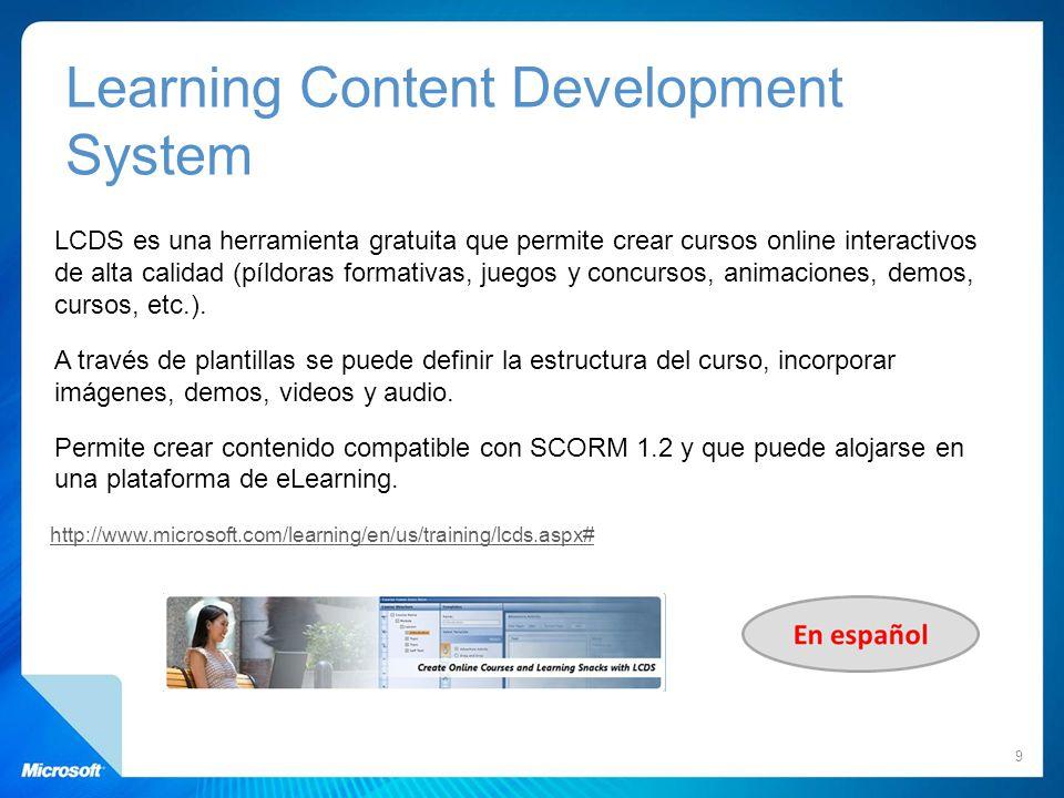 LCDS es una herramienta gratuita que permite crear cursos online interactivos de alta calidad (píldoras formativas, juegos y concursos, animaciones, d