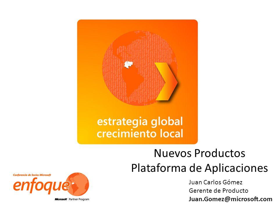 Co Nuevos Productos Plataforma de Aplicaciones Juan Carlos Gómez Gerente de Producto Juan.Gomez@microsoft.com