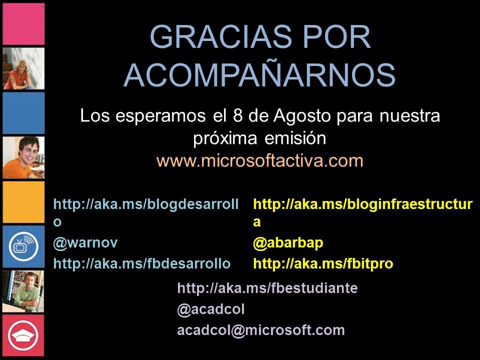 GRACIAS POR ACOMPAÑARNOS http://aka.ms/blogdesarroll o @warnov http://aka.ms/fbdesarrollo http://aka.ms/bloginfraestructur a @abarbap http://aka.ms/fbitpro Los esperamos el 8 de Agosto para nuestra próxima emisión www.microsoftactiva.com http://aka.ms/fbestudiante @acadcol acadcol@microsoft.com