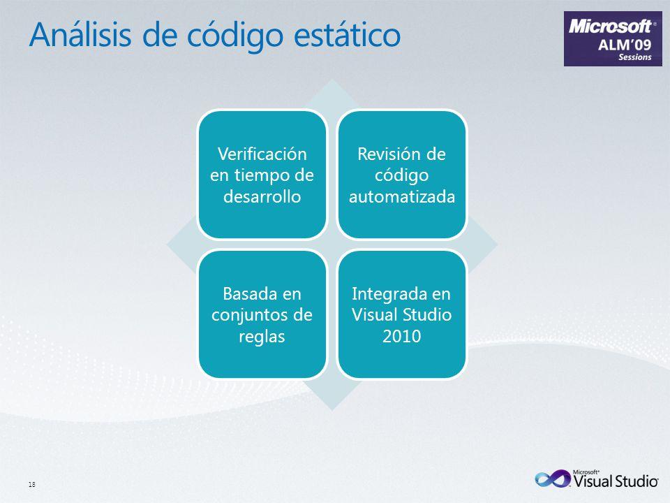 Verificación en tiempo de desarrollo Revisión de código automatizada Basada en conjuntos de reglas Integrada en Visual Studio 2010 18