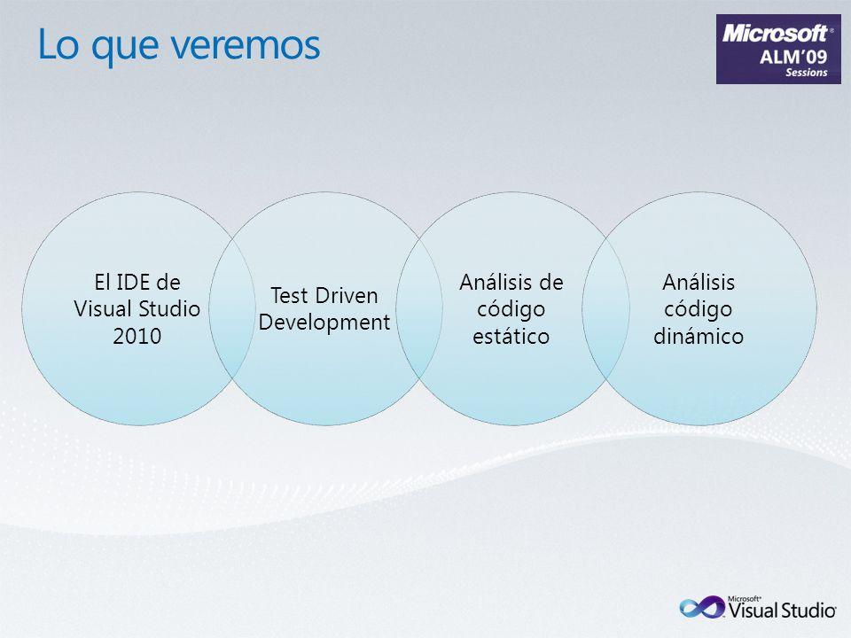El IDE de Visual Studio 2010 Test Driven Development Análisis de código estático Análisis código dinámico