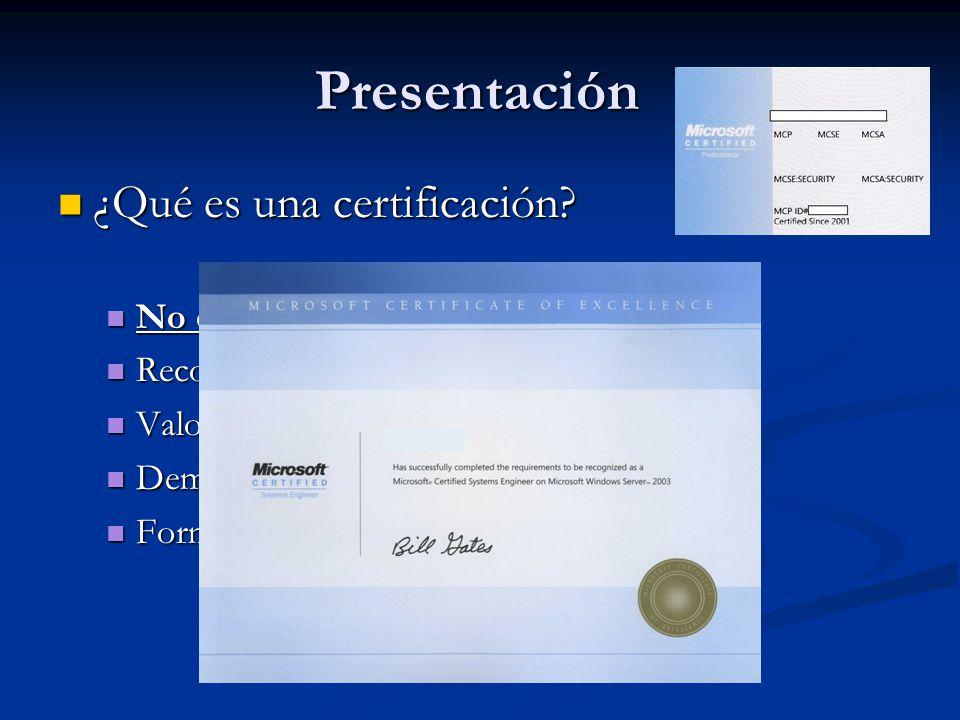 Presentación ¿Qué es una certificación. ¿Qué es una certificación.