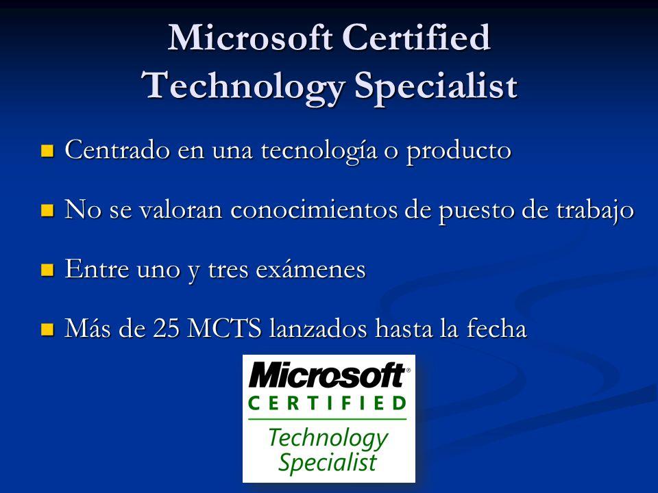 Microsoft Certified Technology Specialist Centrado en una tecnología o producto Centrado en una tecnología o producto No se valoran conocimientos de puesto de trabajo No se valoran conocimientos de puesto de trabajo Entre uno y tres exámenes Entre uno y tres exámenes Más de 25 MCTS lanzados hasta la fecha Más de 25 MCTS lanzados hasta la fecha