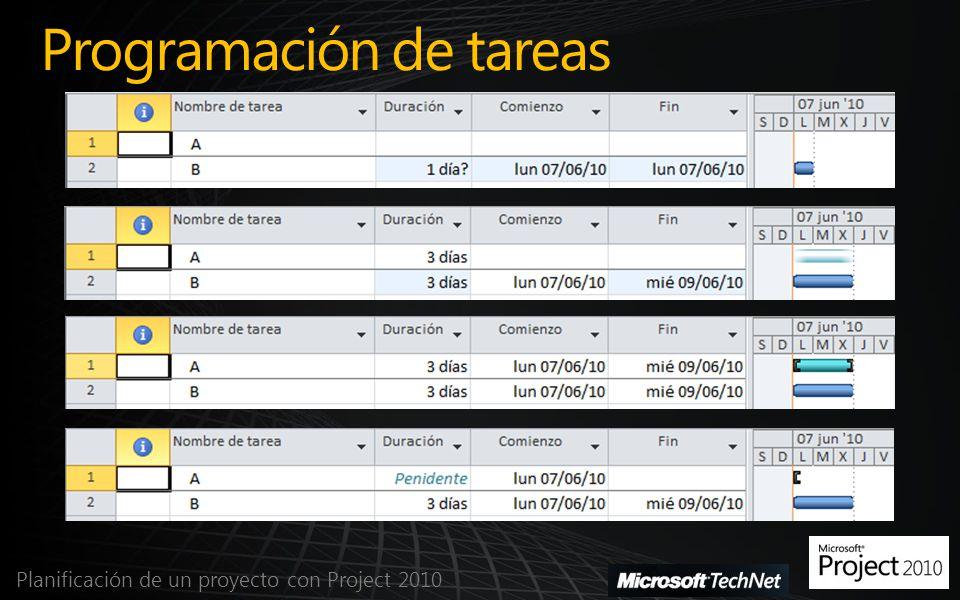 Programación de tareas Planificación de un proyecto con Project 2010