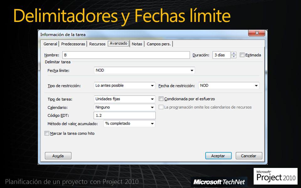 Delimitadores y Fechas límite Planificación de un proyecto con Project 2010