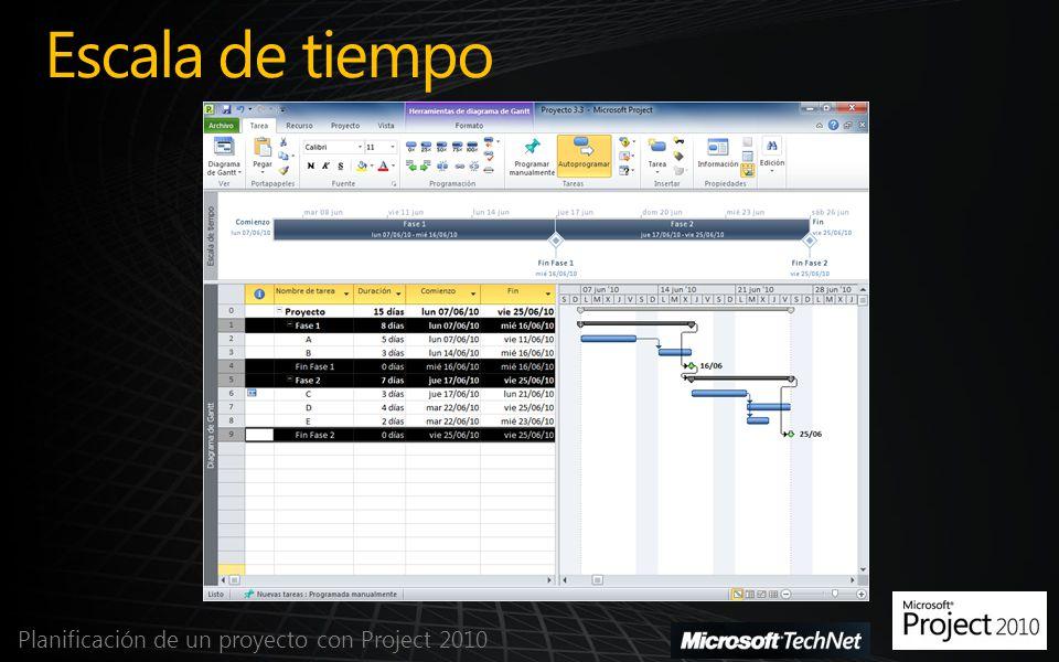 Escala de tiempo Planificación de un proyecto con Project 2010