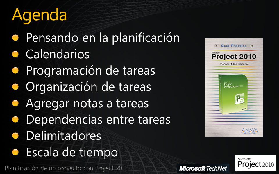 Agenda Planificación de un proyecto con Project 2010