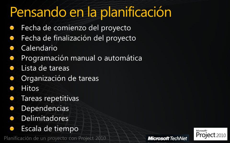 Pensando en la planificación Planificación de un proyecto con Project 2010