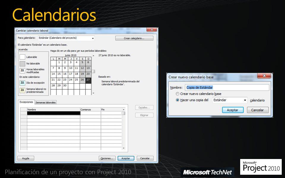 Calendarios Planificación de un proyecto con Project 2010