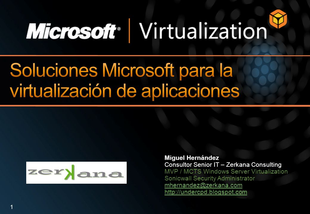 Miguel Hernández Consultor Senior IT – Zerkana Consulting MVP / MCTS Windows Server Virtualization Sonicwall Security Administrator mhernandez@zerkana