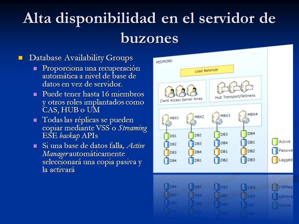Alta disponibilidad en el servidor de buzones Database Availability Groups Database Availability Groups Proporciona una recuperación automática a nivel de base de datos en vez de servidor.