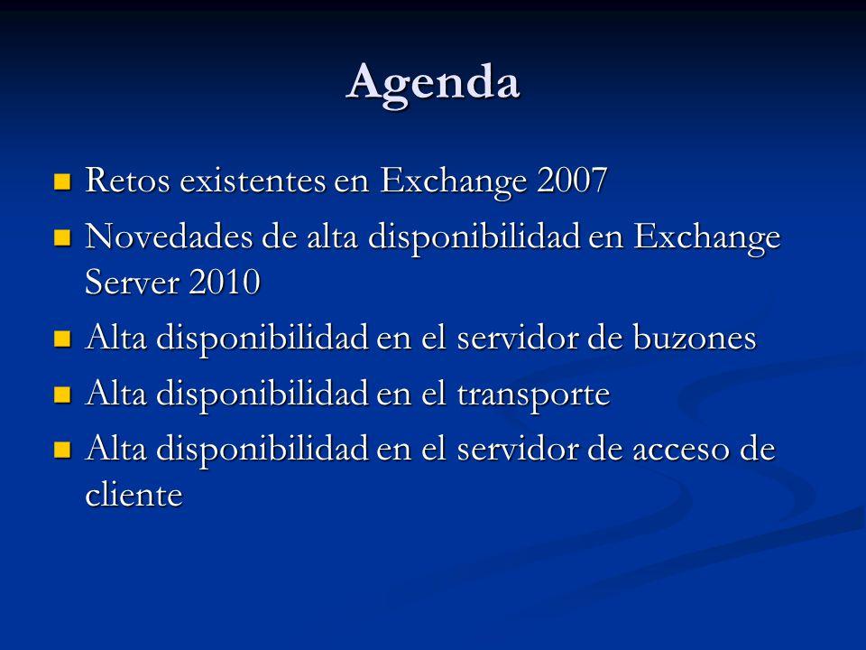 Agenda Retos existentes en Exchange 2007 Retos existentes en Exchange 2007 Novedades de alta disponibilidad en Exchange Server 2010 Novedades de alta