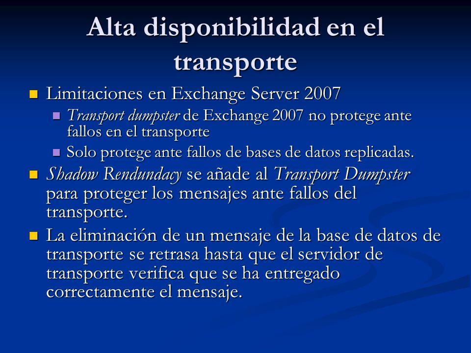 Alta disponibilidad en el transporte Limitaciones en Exchange Server 2007 Limitaciones en Exchange Server 2007 Transport dumpster de Exchange 2007 no protege ante fallos en el transporte Transport dumpster de Exchange 2007 no protege ante fallos en el transporte Solo protege ante fallos de bases de datos replicadas.