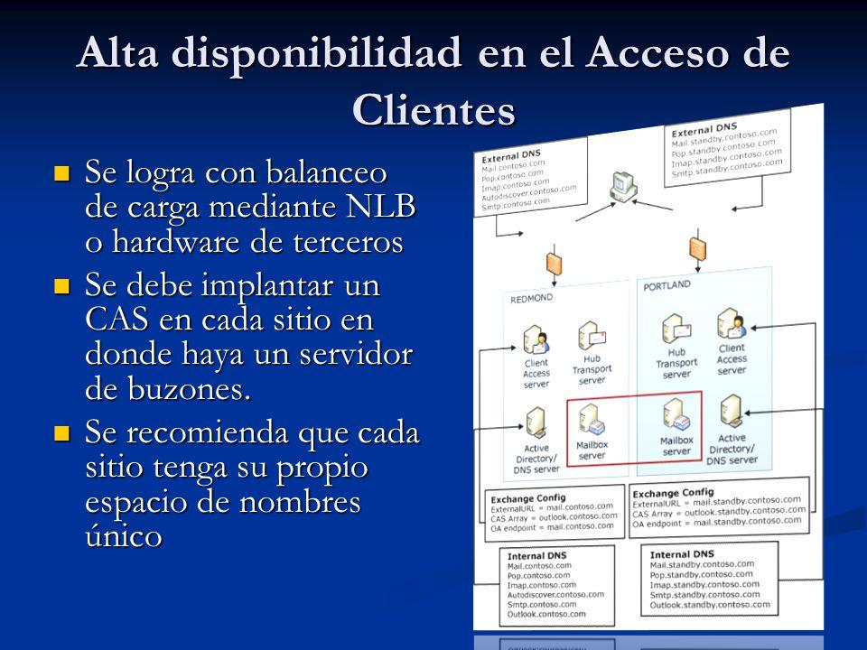 Se logra con balanceo de carga mediante NLB o hardware de terceros Se logra con balanceo de carga mediante NLB o hardware de terceros Se debe implantar un CAS en cada sitio en donde haya un servidor de buzones.