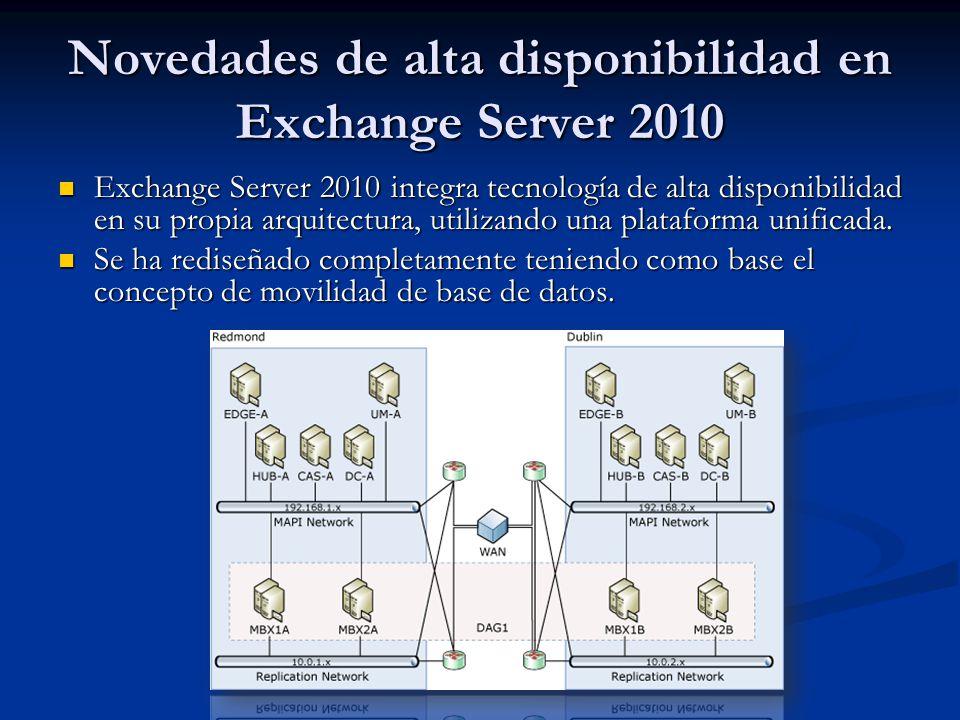 Exchange Server 2010 integra tecnología de alta disponibilidad en su propia arquitectura, utilizando una plataforma unificada. Exchange Server 2010 in
