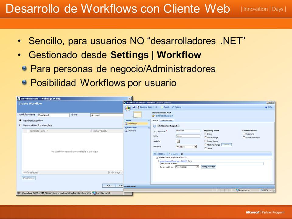 Desarrollo de Workflows con Cliente Web Sencillo, para usuarios NO desarrolladores.NET Gestionado desde Settings | Workflow Para personas de negocio/Administradores Posibilidad Workflows por usuario
