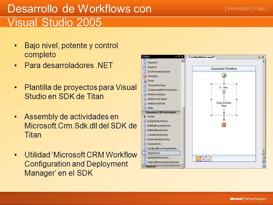 Desarrollo de Workflows con Visual Studio 2005 Bajo nivel, potente y control completo Para desarroladores.NET Plantilla de proyectos para Visual Studio en SDK de Titan Assembly de actividades en Microsoft.Crm.Sdk.dll del SDK de Titan Utilidad Microsoft CRM Workflow Configuration and Deployment Manager en el SDK