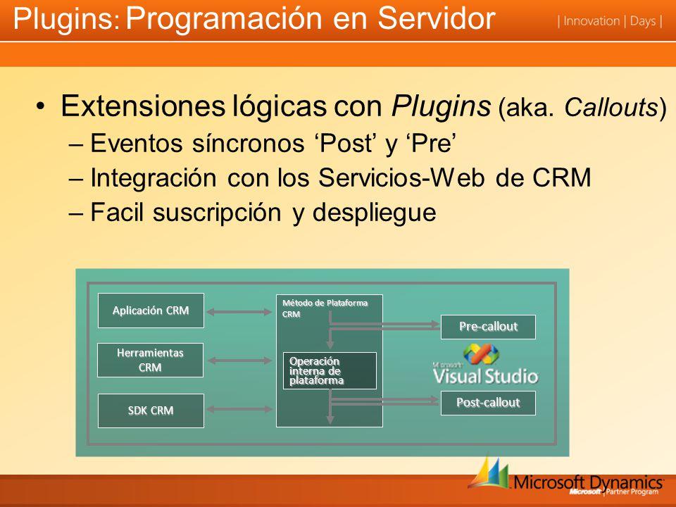 Aplicación CRM Herramientas CRM SDK CRM Método de Plataforma CRM Pre-callout Post-callout Operación interna de plataforma Plugins : Programación en Servidor Extensiones lógicas con Plugins (aka.