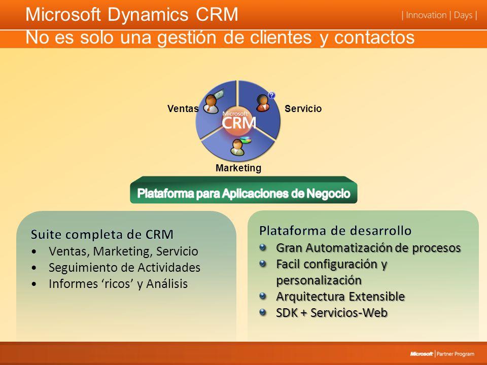 Microsoft Dynamics CRM No es solo una gestión de clientes y contactos VentasServicio Marketing