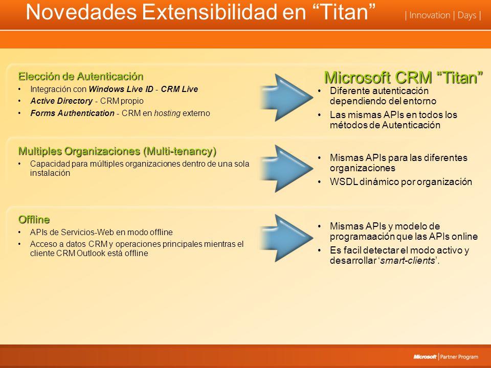 Novedades Extensibilidad en Titan Diferente autenticación dependiendo del entorno Las mismas APIs en todos los métodos de Autenticación Mismas APIs y modelo de programaación que las APIs online Es facil detectar el modo activo y desarrollar smart-clients.