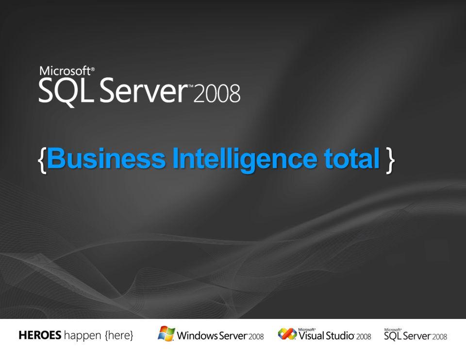 SQL Server 2008 es una plataforma de BI completa y escalable que permite: Liberar sus silos de datos Distribuir información relevante a los usuarios a través de Microsoft Office Disponer de vistas generales de su organización mediante potentes informes y métodos analíticos avanzados y completos Forma parte de la oferta de BI de Microsoft Completa e integrada Difusión general por medio de Microsoft Office Cómoda y para todo el ámbito corporativo