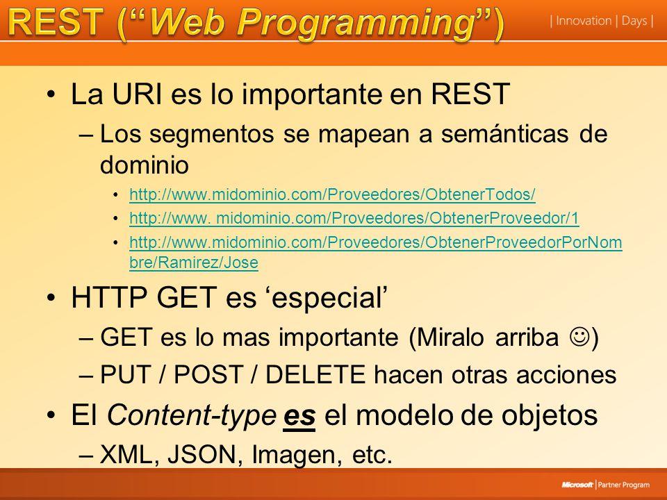 La URI es lo importante en REST –Los segmentos se mapean a semánticas de dominio http://www.midominio.com/Proveedores/ObtenerTodos/ http://www. midomi