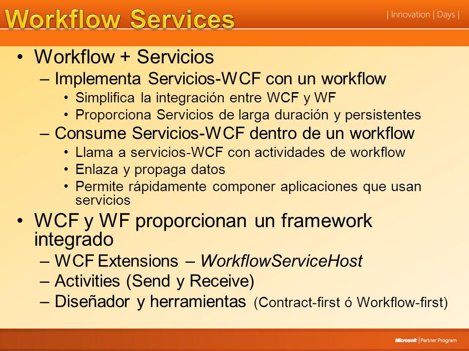 Workflow + Servicios –Implementa Servicios-WCF con un workflow Simplifica la integración entre WCF y WF Proporciona Servicios de larga duración y pers