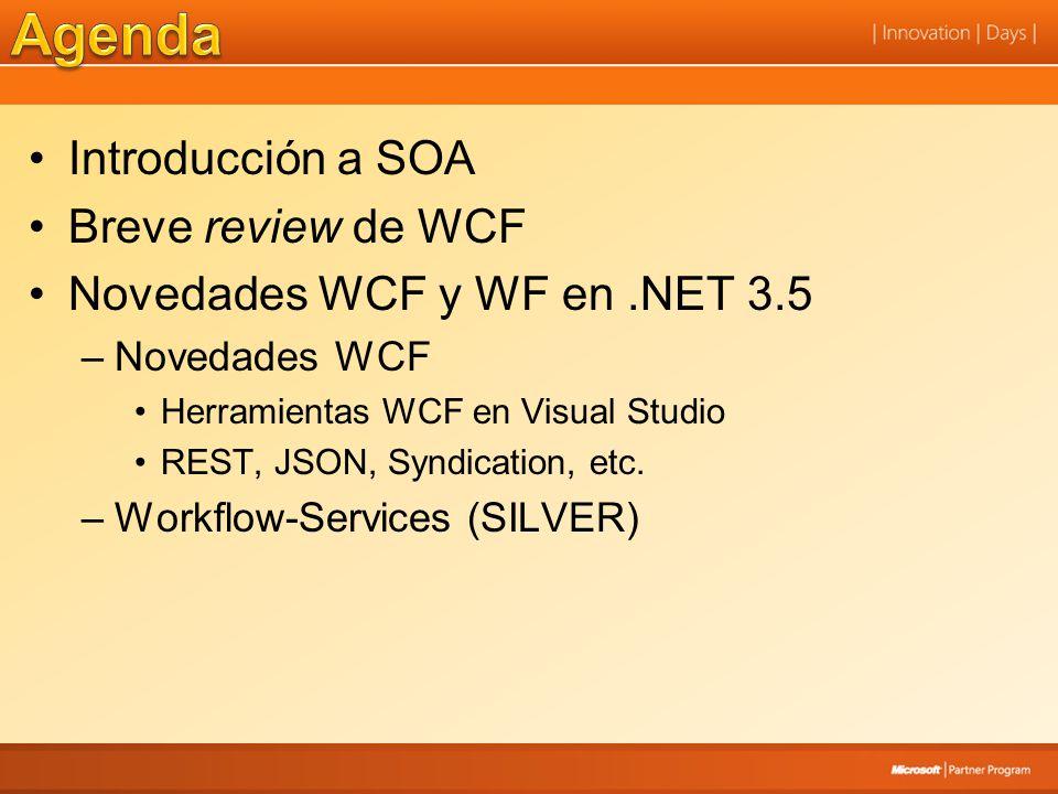 Introducción a SOA Breve review de WCF Novedades WCF y WF en.NET 3.5 –Novedades WCF Herramientas WCF en Visual Studio REST, JSON, Syndication, etc. –W