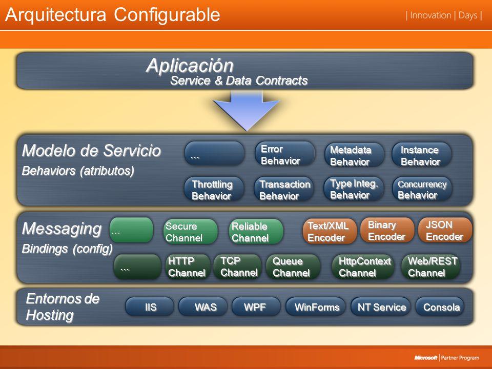 Workflow + Servicios –Implementa Servicios-WCF con un workflow Simplifica la integración entre WCF y WF Proporciona Servicios de larga duración y persistentes –Consume Servicios-WCF dentro de un workflow Llama a servicios-WCF con actividades de workflow Enlaza y propaga datos Permite rápidamente componer aplicaciones que usan servicios WCF y WF proporcionan un framework integrado –WCF Extensions – WorkflowServiceHost –Activities (Send y Receive) –Diseñador y herramientas (Contract-first ó Workflow-first)