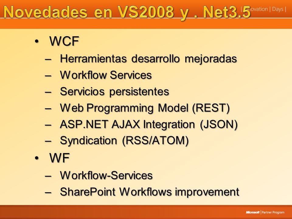 WCFWCF –Herramientas desarrollo mejoradas –Workflow Services –Servicios persistentes –Web Programming Model (REST) –ASP.NET AJAX Integration (JSON) –S