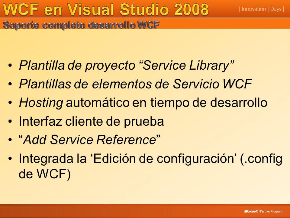 Plantilla de proyecto Service Library Plantillas de elementos de Servicio WCF Hosting automático en tiempo de desarrollo Interfaz cliente de prueba Add Service Reference Integrada la Edición de configuración (.config de WCF)
