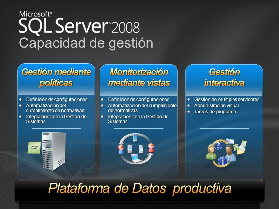 Capacidad de gestión Gestión de múltiples servidores Administración visual Tareas de programa Definición de configuraciones Automatización del cumplim