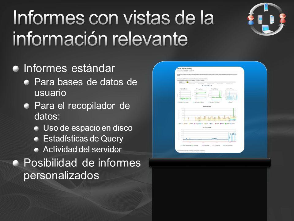 Informes estándar Para bases de datos de usuario Para el recopilador de datos: Uso de espacio en disco Estadísticas de Query Actividad del servidor Po